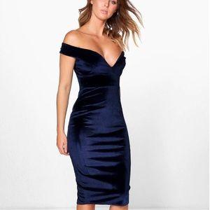 Navy / velvet / off the shoulder / midi dress